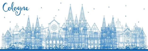 Décrire les toits de la ville de cologne allemagne avec des bâtiments bleus. illustration vectorielle. concept de voyage d'affaires et de tourisme avec architecture historique. paysage urbain de cologne avec des points de repère.