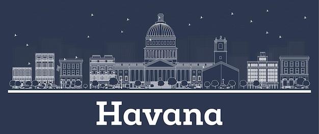 Décrire les toits de la ville de la havane cuba avec des bâtiments blancs. illustration vectorielle. concept de voyage d'affaires et de tourisme avec architecture historique. paysage urbain de la havane avec points de repère.