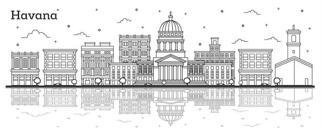 Décrire les toits de la ville de la havane cuba avec des bâtiments historiques et des réflexions isolées sur blanc. illustration vectorielle. paysage urbain de la havane avec points de repère.