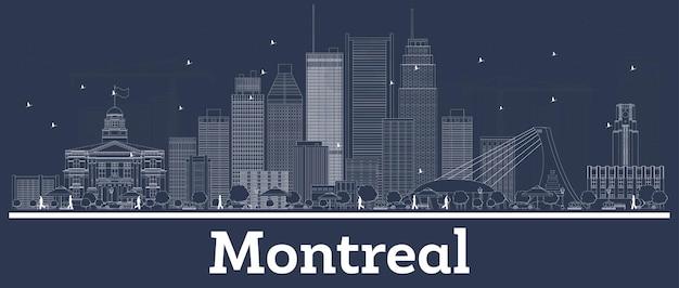 Décrire les toits de la ville de montréal canada avec des bâtiments blancs. illustration vectorielle. voyage d'affaires et concept avec l'architecture moderne. paysage urbain de montréal avec points de repère.