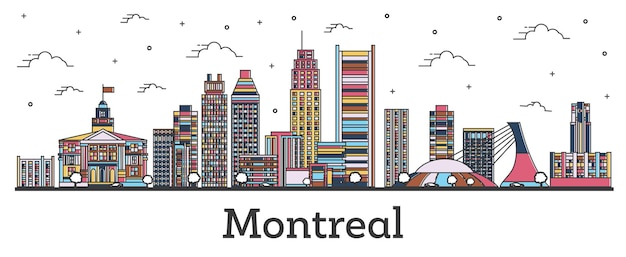 Décrire les toits de la ville de montréal canada avec des bâtiments de couleur isolés sur blanc. illustration vectorielle. paysage urbain de montréal avec points de repère.