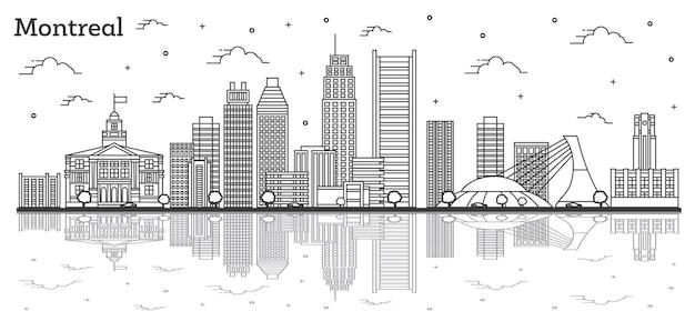 Décrire les toits de la ville de montréal canada avec des bâtiments modernes et des réflexions isolées sur blanc