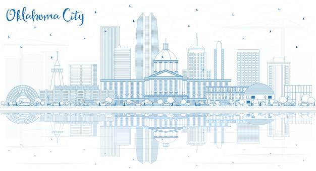 Décrire les toits de la ville d'oklahoma avec des bâtiments bleus et des reflets. illustration vectorielle. concept de voyage d'affaires et de tourisme à l'architecture moderne. paysage urbain d'oklahoma city avec des points de repère.