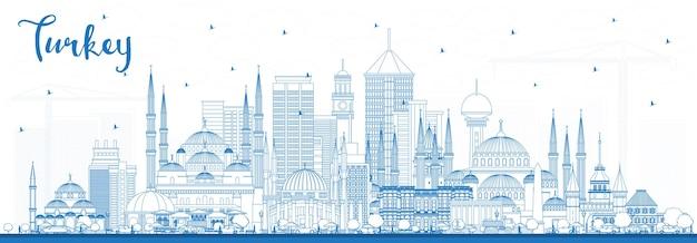 Décrire les toits de la ville de turquie avec des bâtiments bleus. illustration vectorielle. concept de tourisme avec architecture historique. paysage urbain de la turquie avec des points de repère. izmir. ankara. istanbul.