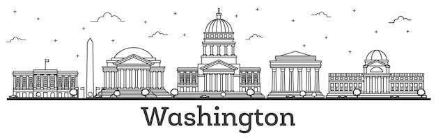 Décrire les toits de la ville de washington dc usa avec des bâtiments modernes isolés sur blanc.