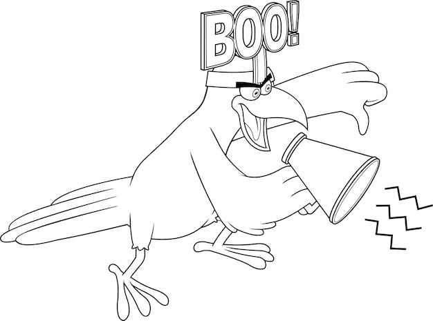 Décrit le caractère d'oiseau de corbeau criant dans le mégaphone et donnant les pouces vers le bas. illustration