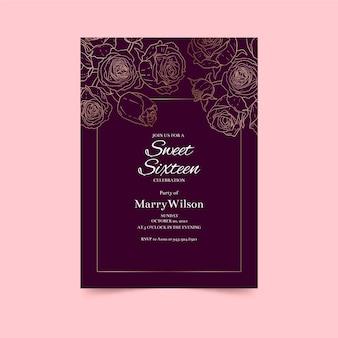 Décrit le modèle d'invitation d'anniversaire de roses dorées