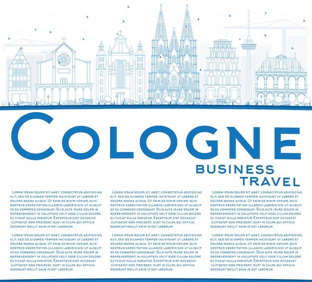 Décrivez l'horizon de cologne avec les bâtiments bleus et l'espace de copie. illustration vectorielle. concept de voyage d'affaires et de tourisme avec architecture historique. image pour la bannière de présentation et le site web.