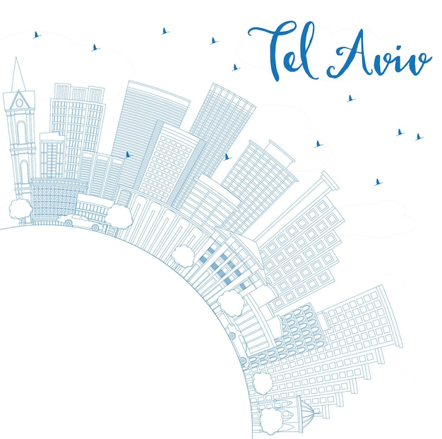 Décrivez l'horizon de tel aviv avec les bâtiments bleus et l'espace de copie. illustration vectorielle. concept de voyage d'affaires et de tourisme à l'architecture moderne. image pour la bannière de présentation et le site web.
