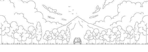 Décrivez les montagnes du paysage, la forêt, la voiture et les voyages. illustration vectorielle de ligne art.