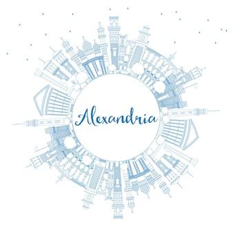 Décrivez les toits de la ville d'alexandrie en égypte avec des bâtiments bleus et un espace de copie. illustration vectorielle. concept de voyage d'affaires et de tourisme avec architecture historique. paysage urbain d'alexandrie avec des points de repère.