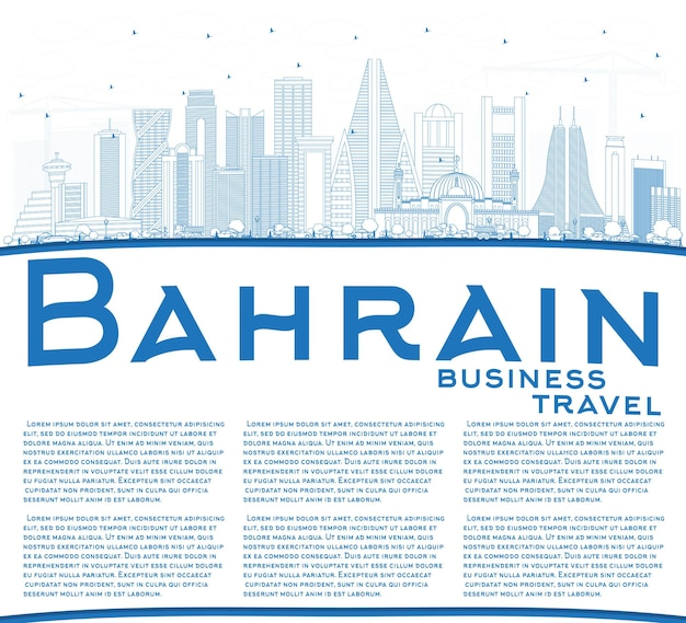 Décrivez les toits de la ville de bahreïn avec des bâtiments bleus et un espace de copie. illustration vectorielle. concept de voyage d'affaires et de tourisme à l'architecture moderne. paysage urbain de bahreïn avec des points de repère.