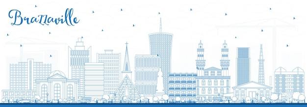 Décrivez les toits de la ville de brazzaville en république du congo avec des bâtiments bleus. illustration vectorielle. concept de voyage d'affaires et de tourisme avec architecture historique. paysage urbain de brazzaville avec points de repère.