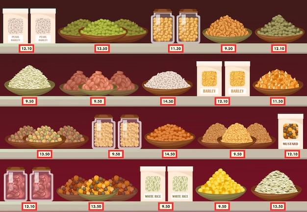Décrochage ou stand au magasin avec de l'orge et du riz, de la moutarde