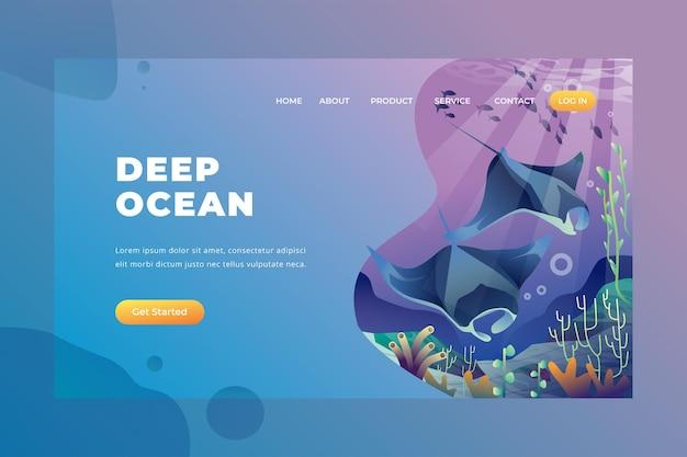 Deep ocean - page de destination vectorielle
