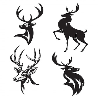 Deer logo set vecteur design premium
