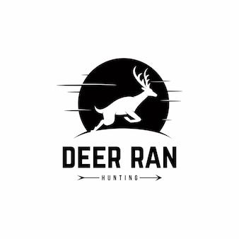 Deer ran logo template vecteur