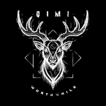 Deer sketch wildanimal illustration graphique vectoriel