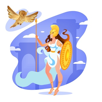 Déesse athéna tenant lance et bouclier dans les mains.