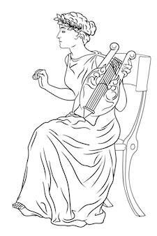 Déesse grecque antique de l'art avec une harpe à la main et une couronne de laurier sur la tête.