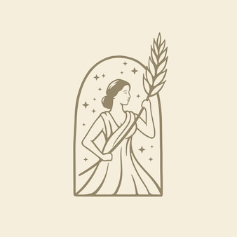 Déesse grecque dans la religion romaine antique et le mythe tiennent le blé