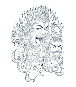 La déesse kali coupe la tête d'un géant