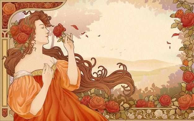 Déesse mucha tenant des roses dans le jardin, affiche de style art nouveau rétro