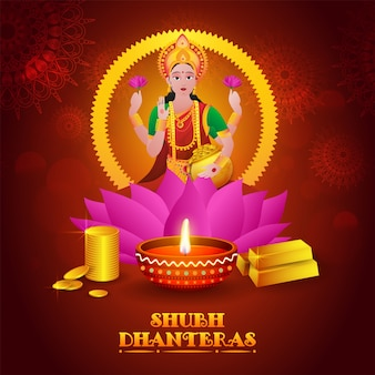 Déesse mythologique indienne de la richesse illustration shri laxmi avec litlamp à huile éclairée sur fond floral décoré.