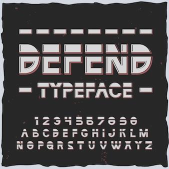 Défendre l'alphabet avec des lignes et des éléments de police rétro-futuristes avec des chiffres et des lettres isolés