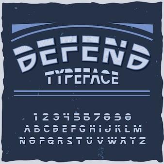Défendre l'arrière-plan avec des lignes et des éléments de police rétro-futuristes avec illustration de chiffres et de lettres