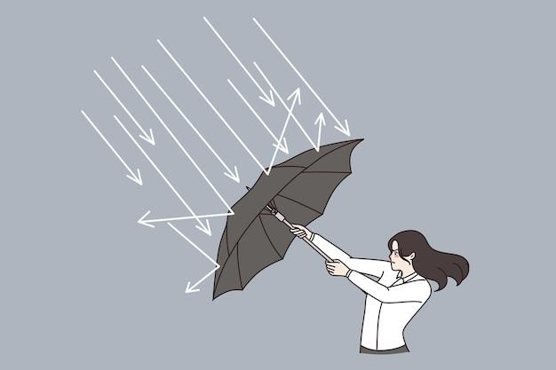 Défense d'entreprise, défi, concept de stratégie. jeune femme d'affaires debout avec un parapluie et se défendant des flèches frappant son illustration vectorielle
