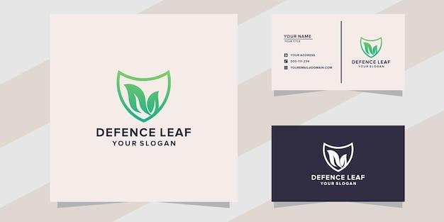 Défense avec modèle de logo de feuille