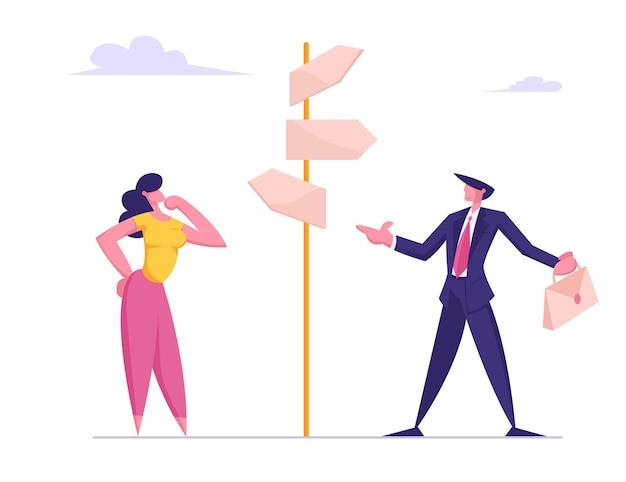 Défi commercial et solution de tâche choice way concept