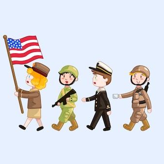 Défilé d'enfants en uniforme militaire