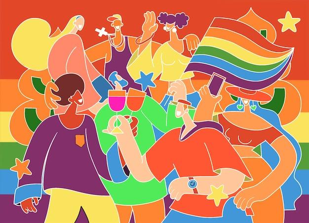 Défilé de la fierté, une foule marchant dans un défilé de la fierté. membres de la communauté lesbienne, gaie, bisexuelle et transgenre. une tendance qui implique un ensemble diversifié de personnes, une illustration vectorielle d'un doodle