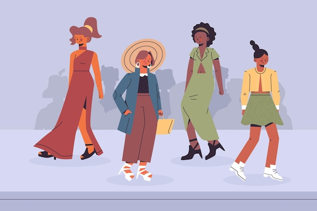 Défilé de mode dessiné à la main illustré