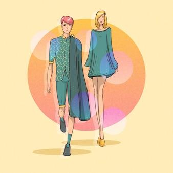 Défilé de mode dessiné à la main