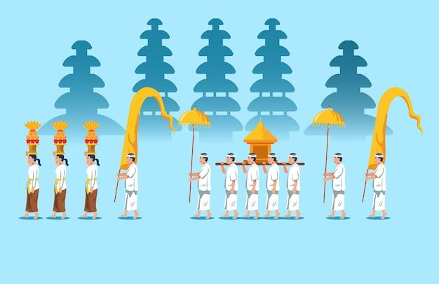 Défilé de rite religieux hindou à bali
