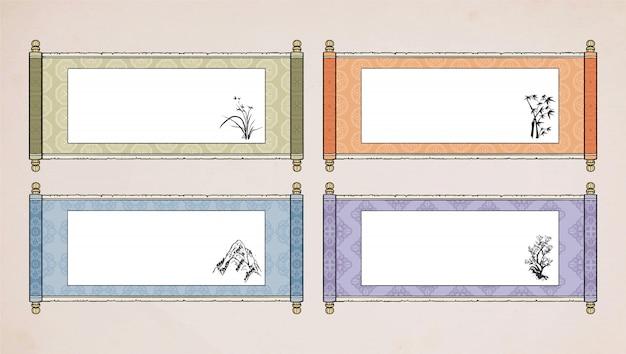 Défilement asiatique vintage oriental. chinois hanging scroll coréen. papier parchemin japonais.