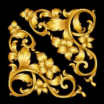 Défilement cadre baroque or vintage
