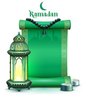 Défilement du mois sacré du ramadan, lampe vintage et bougies sur le fond d'une mosquée.