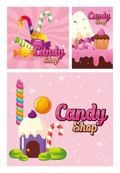 Définir l'affiche de la boutique de bonbons et de la décoration des caramels