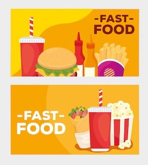 Définir l'affiche, délicieux restauration rapide
