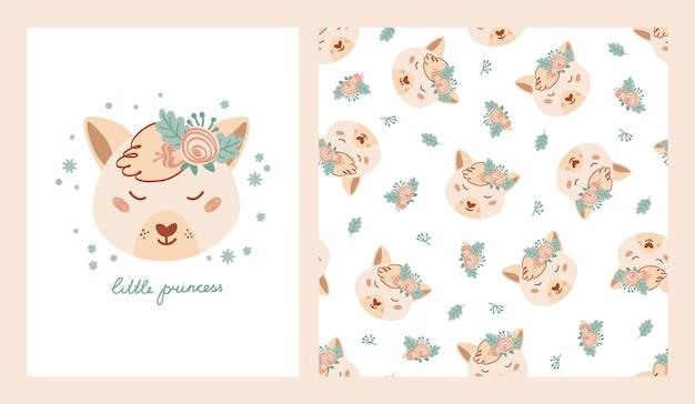 Définir une affiche mignonne et un motif sans couture avec renard, fleurs et affiche avec lettrage petite princesse. collection de dessins avec des animaux dans un style plat pour vêtements pour enfants, textiles. illustration vectorielle