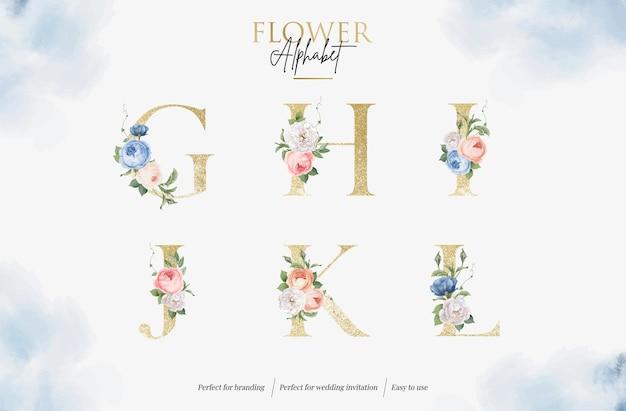 Définir l'alphabet floral aquarelle avec lettre d'or