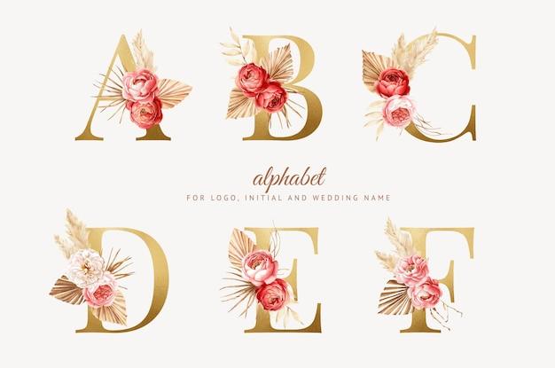 Définir l'alphabet floral boho aquarelle avec lettre d'or