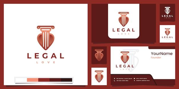 Définir l'amour juridique du logo avec l'inspiration de conception de logo de version couleur