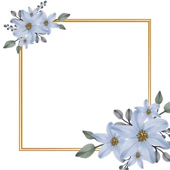 Définir l'aquarelle florale de bleu dans un cadre carré doré