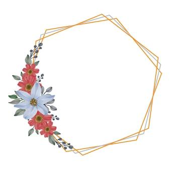 Définir l'aquarelle florale de rouge et de bleu dans un cadre hexagonal