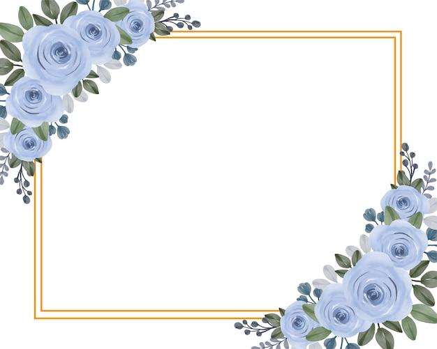 Définir l'aquarelle avec des roses bleues dans un cadre rectangle doré